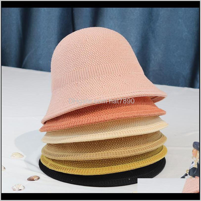 Japanese Casual Sunscreen Basin Hat Versatile Bucket Solid Color Hat Female Summer Breathable Sunshade Fisherman`s Hat