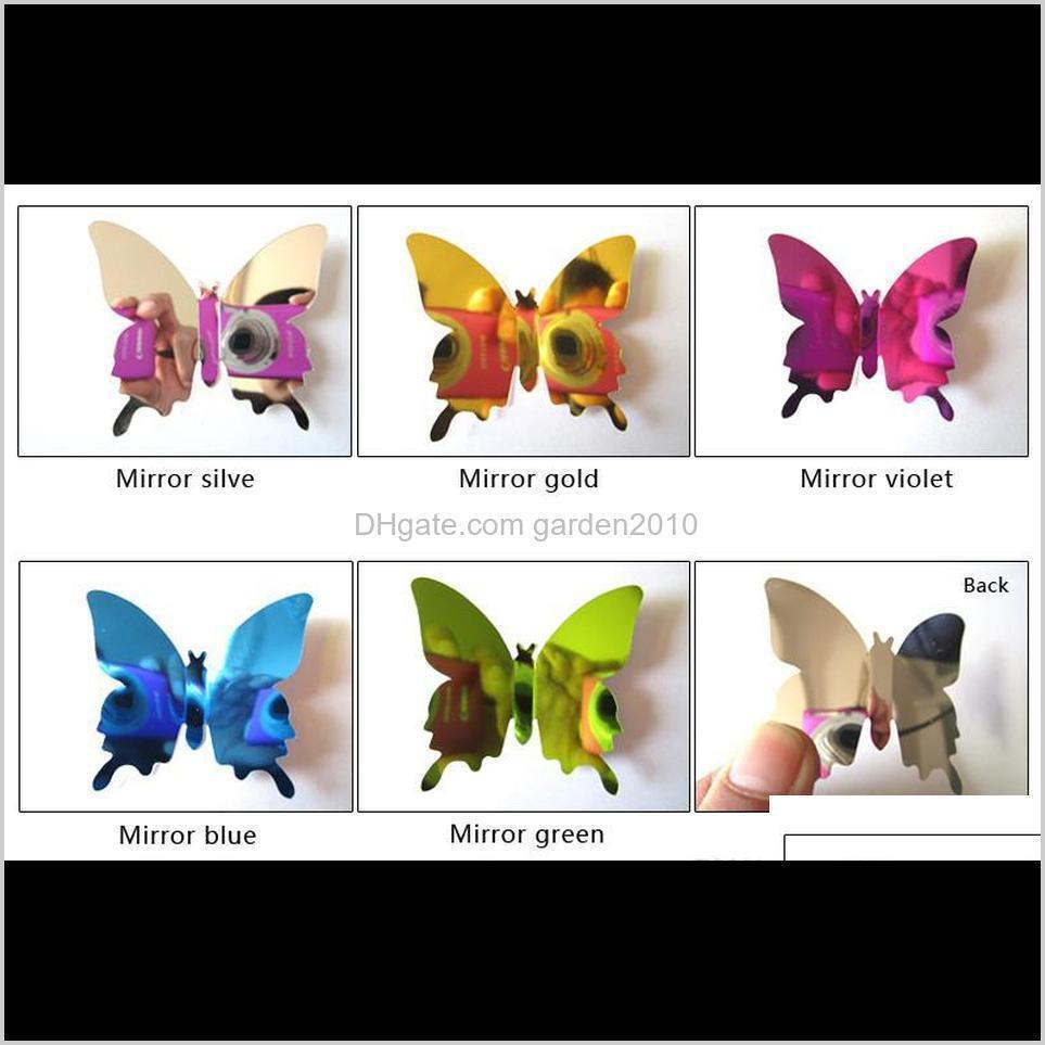 12pcs/lot pvc diy wall sticker new 3d mirror butterfly sticker for wall window party supplies