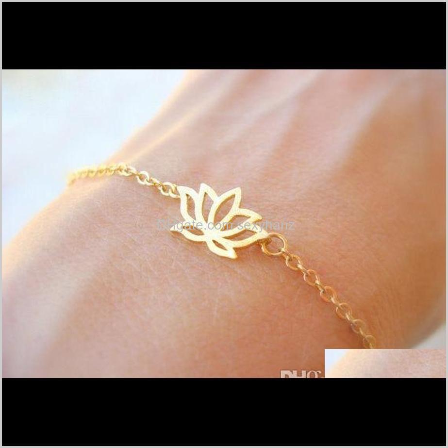 5pcs small plant lotus flower bracelets lotos leaf petal bracelets yoga charm chain jewelry for weddings