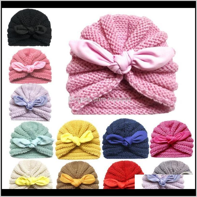 2020 knitted winter baby hat for girls candy color bonnet enfant baby beanie turban hats newborn cap