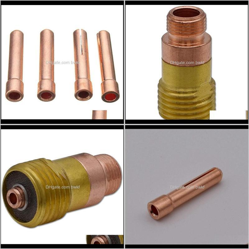 20pcs tig stubby gas lens 17gl332 10n24s 3/32 & collet kit for db sr wp 17 18 26 welding torch weld consumables storage bags