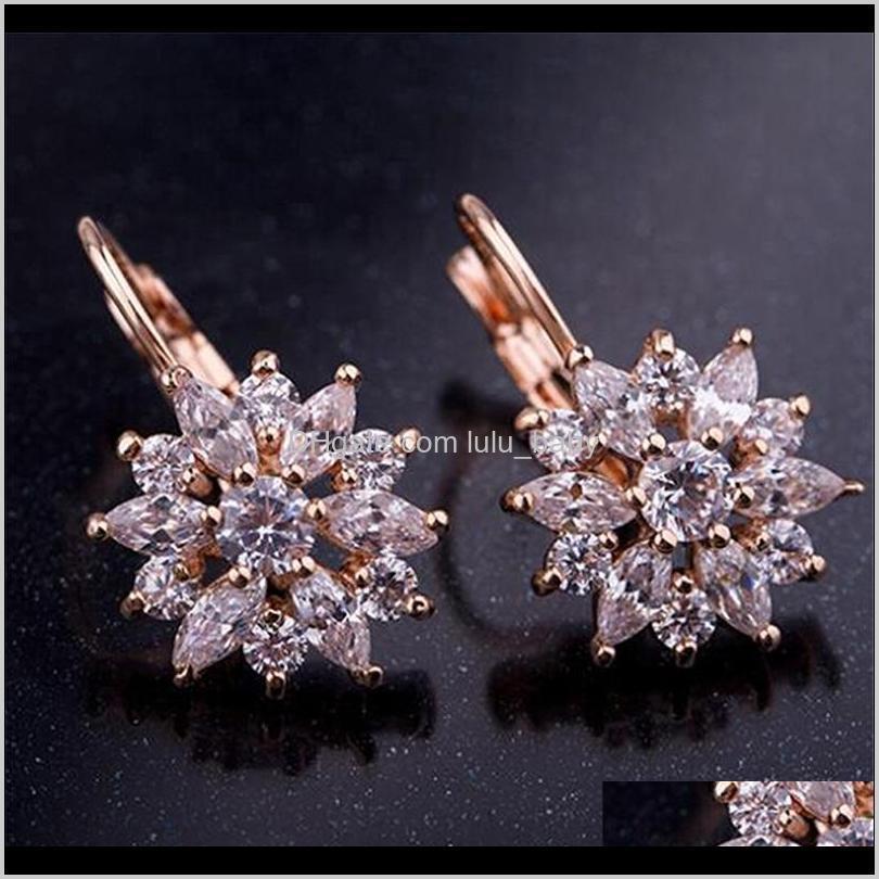 2021 new vintage earrings rose gold crystal cz bling drop earrings for women girls christmas gfit fashion wedding jewelry