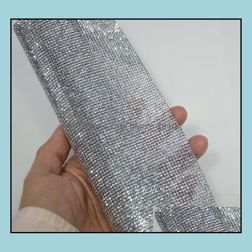 2mm silver hematite flatbackRhinestone Beaded Trim Diamond Mesh Hotfix or self ADHESIVE roll strass Applique Banding for Decorat