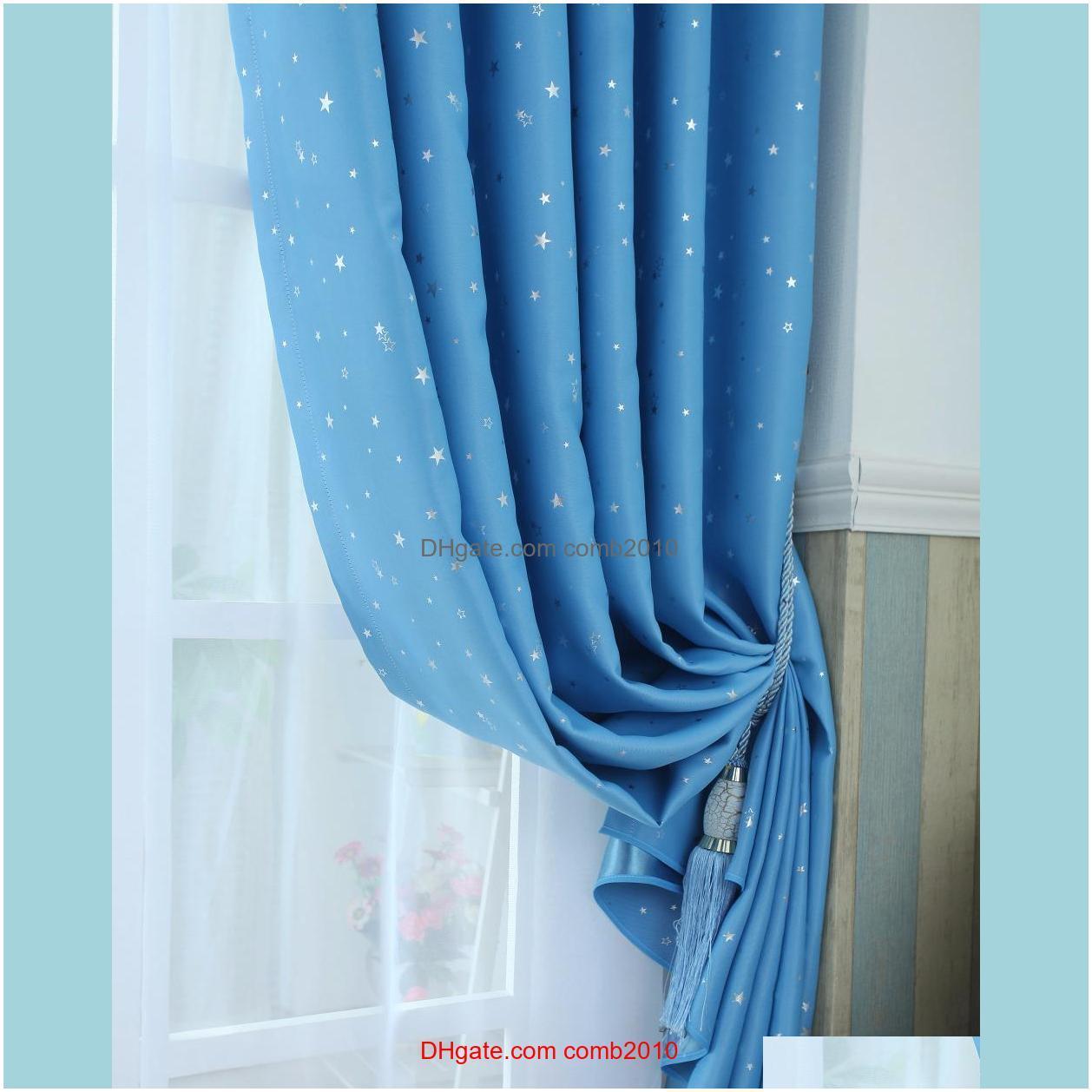 Modern stars blackout curtains kids bedroom curtain for living room Elegent Bule Drapes Cortinas para sala