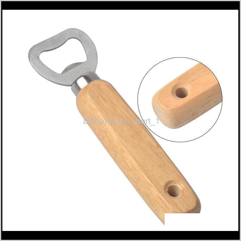 wood handle beer bottle opener stainless steel wooden handle wine beer soda glass cap bottle opener kitchen bar tools