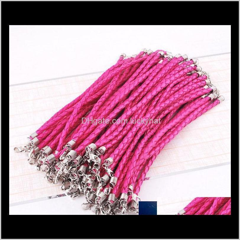 100pcs/lot 20+5cm pu leather braided charm chain bracelets love for diy jewelry bead lobster clasp link chains