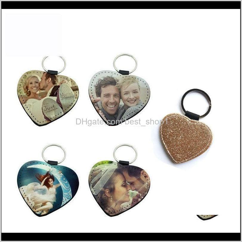 sublimation blank glitter keyring pink golden heart round square bright powder key ring hot transfer printing diy keychain