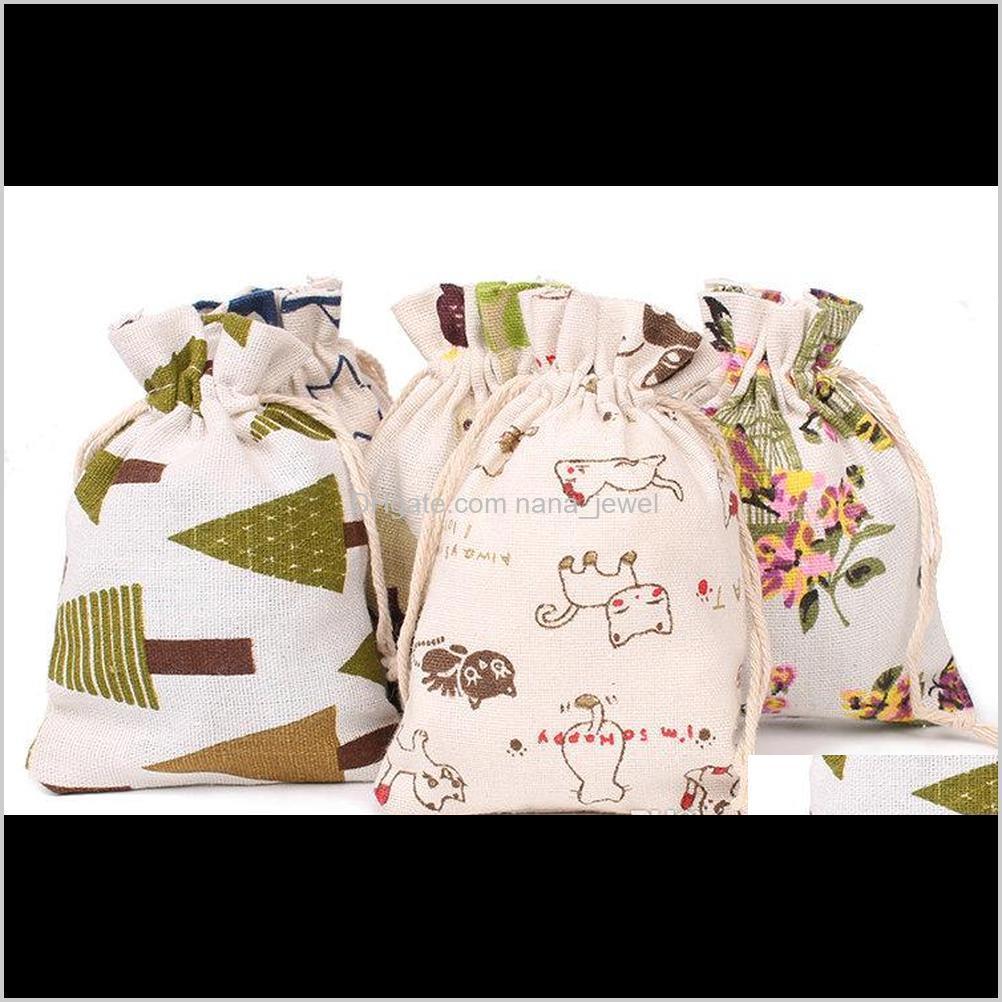 3sizes floral original linen bag drawstring wedding&christmas packaging pouchs & gift bags small jewelry sachet &mini jute bags