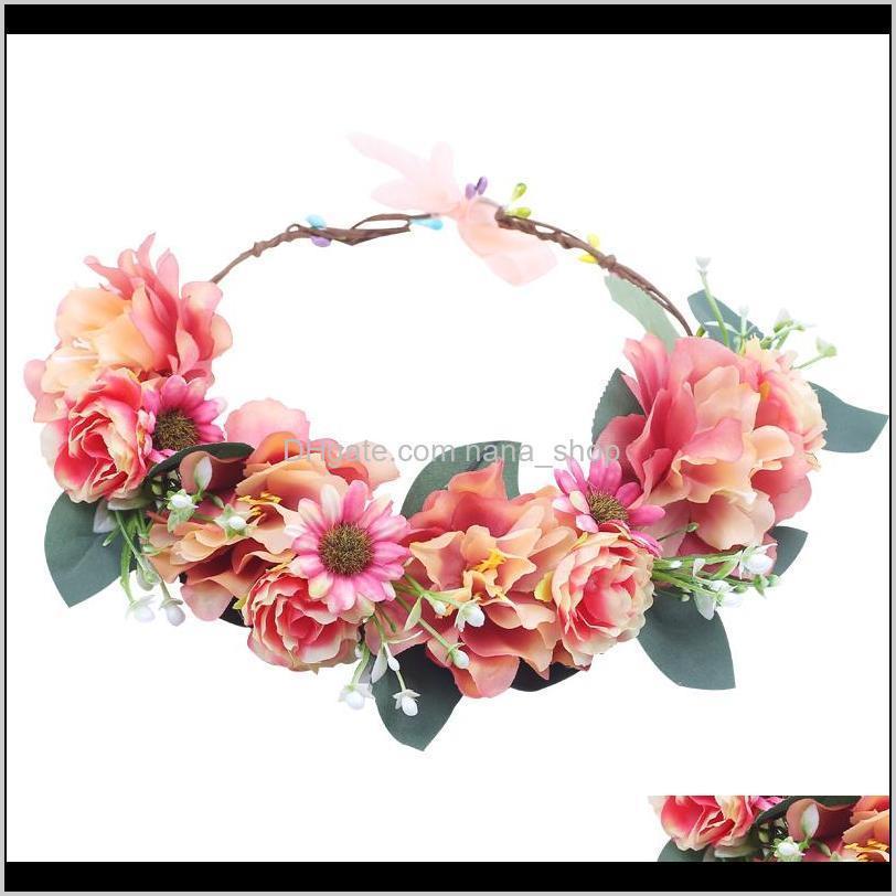 2020 lady girl sweet bridal princess headband floral crown flower headband wedding party hair wreath hairbands hair accessories