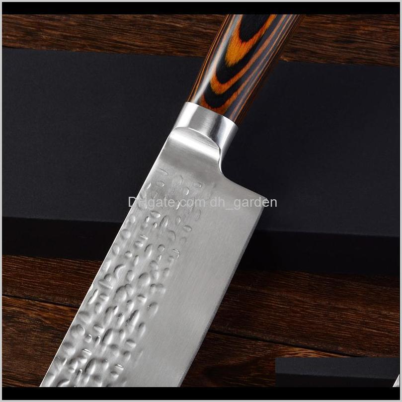 chef knife stainless steel damascus knife wooden handle slicing knives fruit vegetable meat sharp cleaver knives kitchen tools dh1480