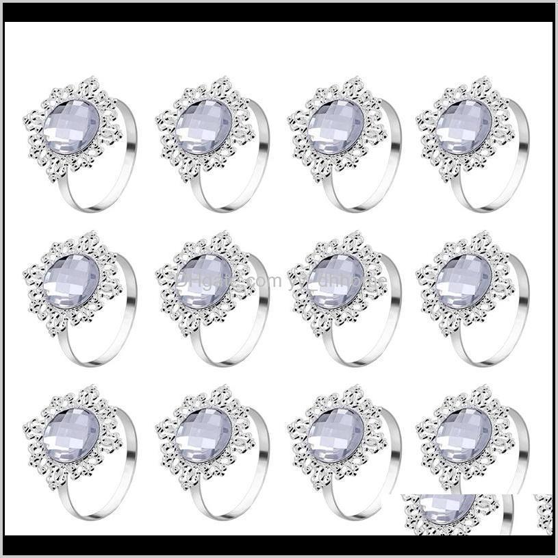 12pcs acrylic silver wedding napkin rings round towel ring holders banquet for wedding dinner decoration
