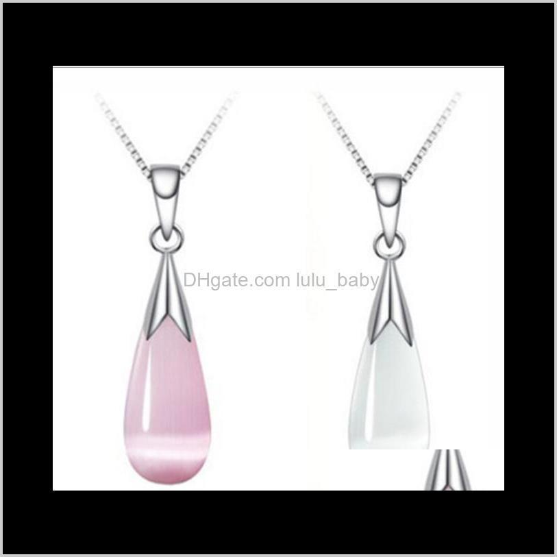 austria crystal necklace jewelry set sterling silver chain big water drop opal necklaces wedding ps2949