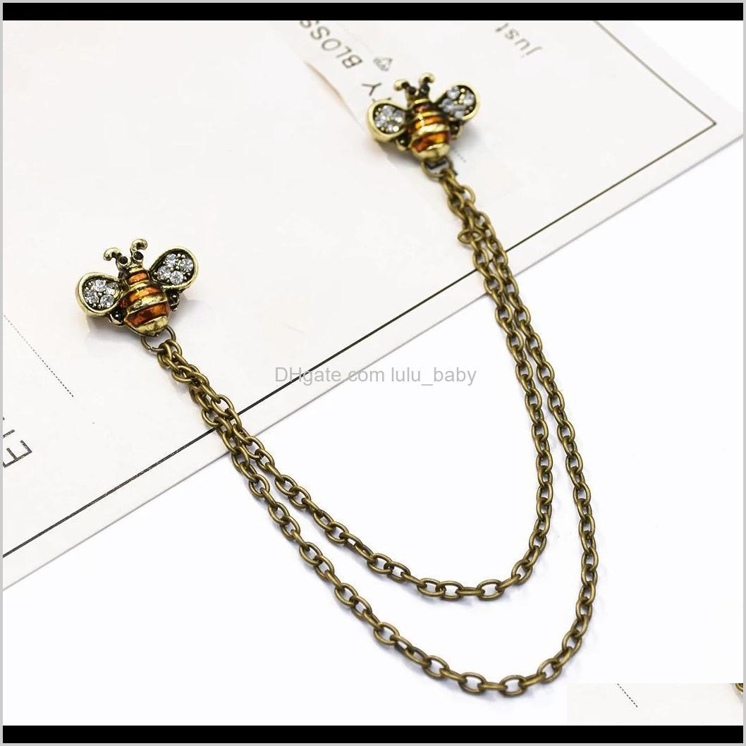 3 colors vintage rhinestone bee brooches for women shirt collar party accessories