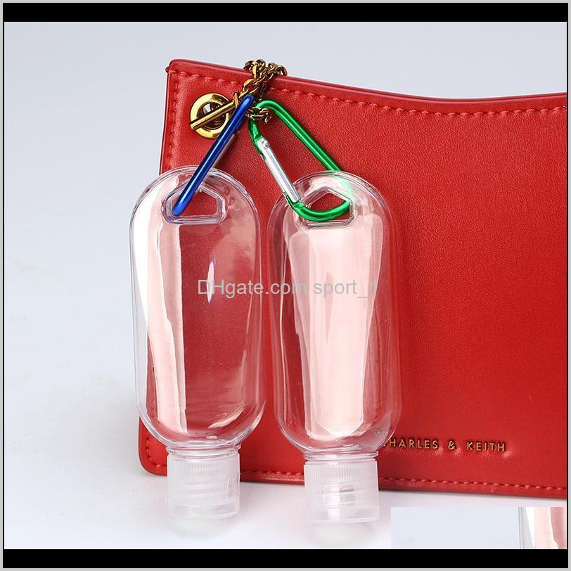 50ml empty hand sanitizer bottles alcohol refillable bottle with key ring hook outdoor portable clear transparent gel bottle