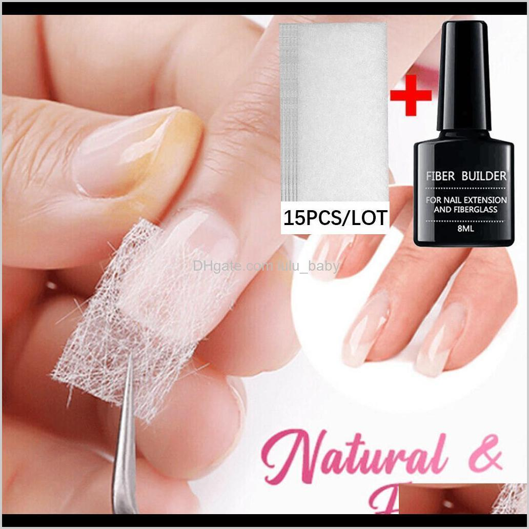 100pcs nail art non-woven silk fiberglass gel tips extension fiber kit uk best uv gel building fiber french acrylic diy manicure