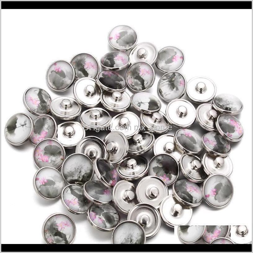 10pcs/lot 18mm elegant lotus buttons glass charm snap button jewelry for 18mm snaps bracelet snap jewel jllldc
