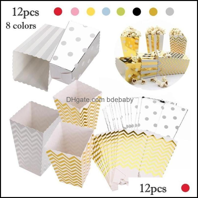 12pcs Dot Wave Striped Paper Popcorn Boxes Candy Box Corn Bag For Christmas Wedding Party Birthday Decoration Supplies1