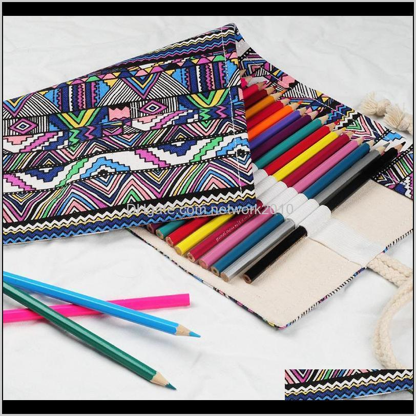 creative ethnic wind pencil case cosmetic brush bag pen bag roll pouch canvas wrap roll up storage bags office&school supplies