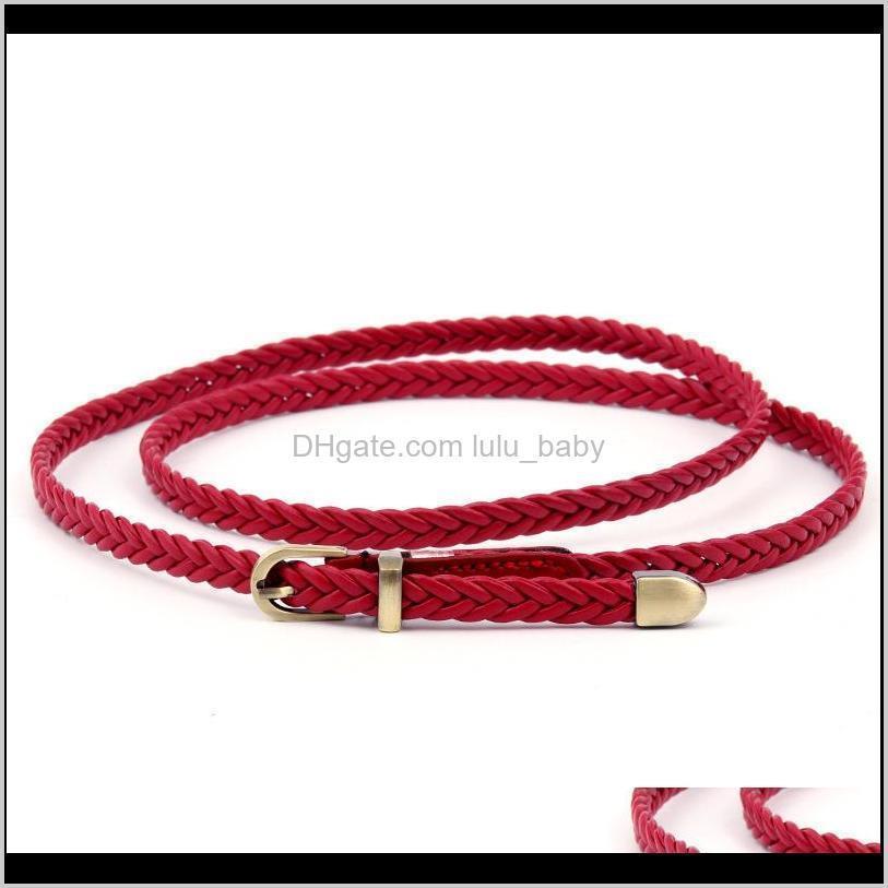 hot women`s decoration slim belt handmade woven belt metal nuddle buckle pu leather belt s557