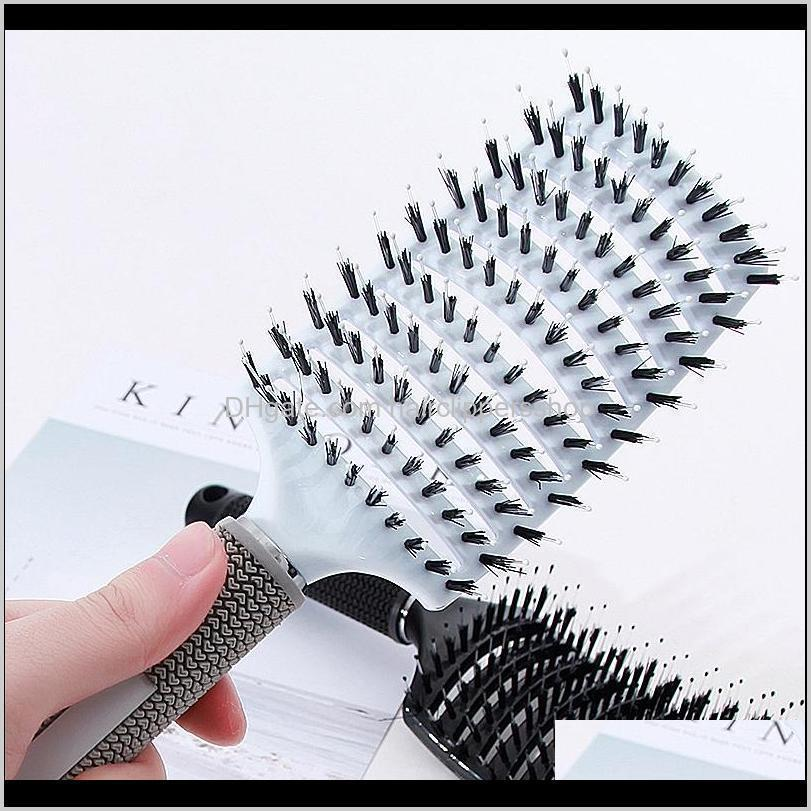 Hot Sale Large Curved Bristle Hair Comb Gap Design Non-slip Handle Hair Brush Women Barber Accessory Haircare Modelling Hot Comb