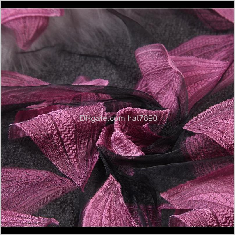 Fralu Brand New Hot bandana Silk Scarf Women Luxury hijab Embroidery Long Scarf black Lace yarn Scarves Fashion Shawl Foulard
