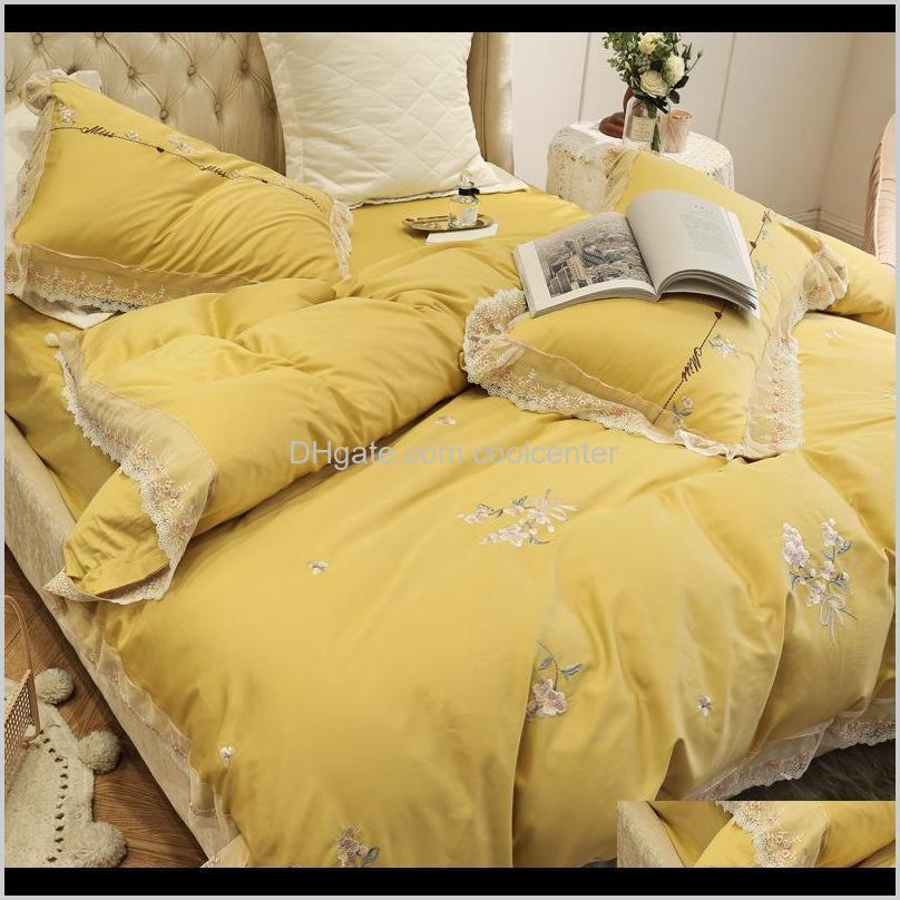 lavender embroidery bedding set 4pcs 100% cotton home textile for new couples wedding bed article romantic lace quilt cover gift