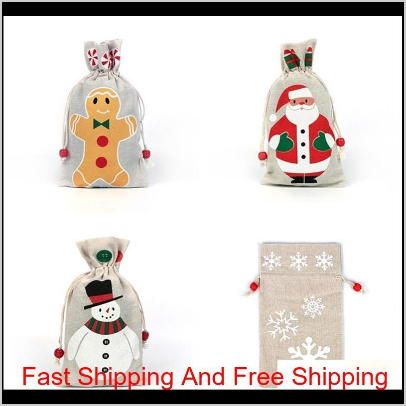 4 styles christmas drawstring gifts bag pouch for santa clause snowflake snowman xmas storage burlap birthday party candy bag decor