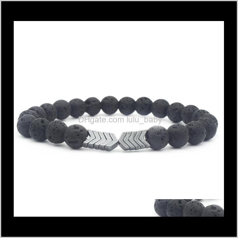 volcanic lava stone essential oil diffuser bracelets bangle healing balance yoga magnet arrow beads bracelet jewelry gifts for men and
