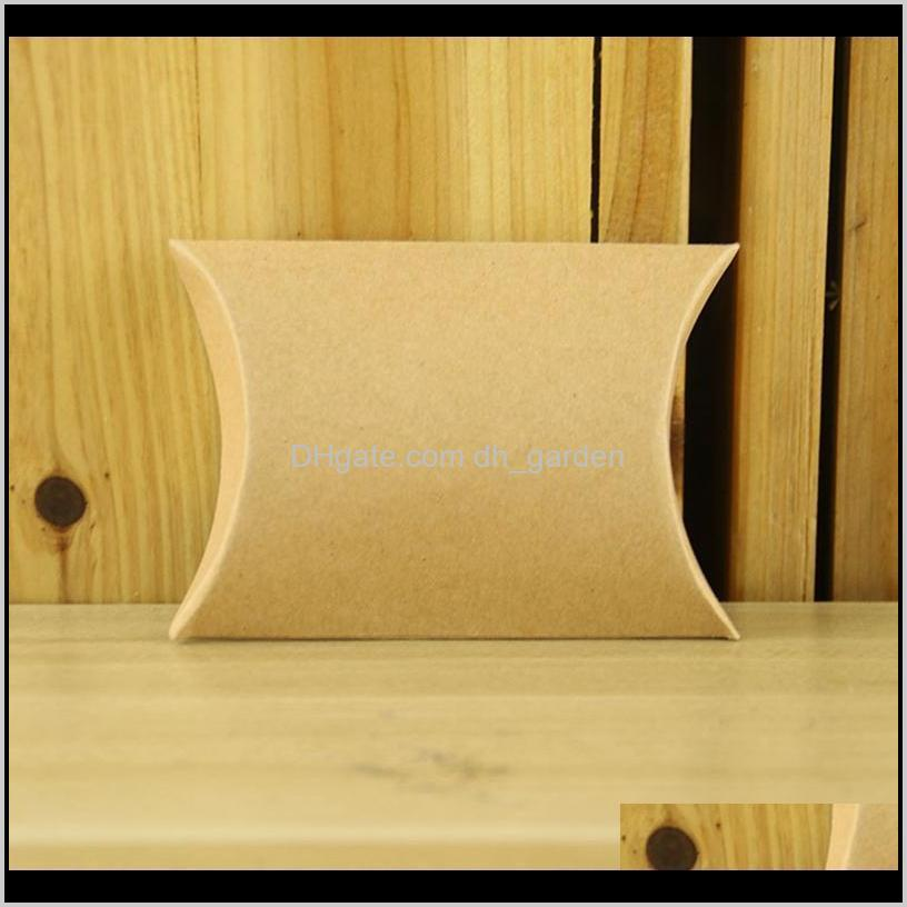 50pcs/lot favor candy box bag craft paper pillow shape wedding favor gift boxes kraft paper party box bags birthday party supply dbc