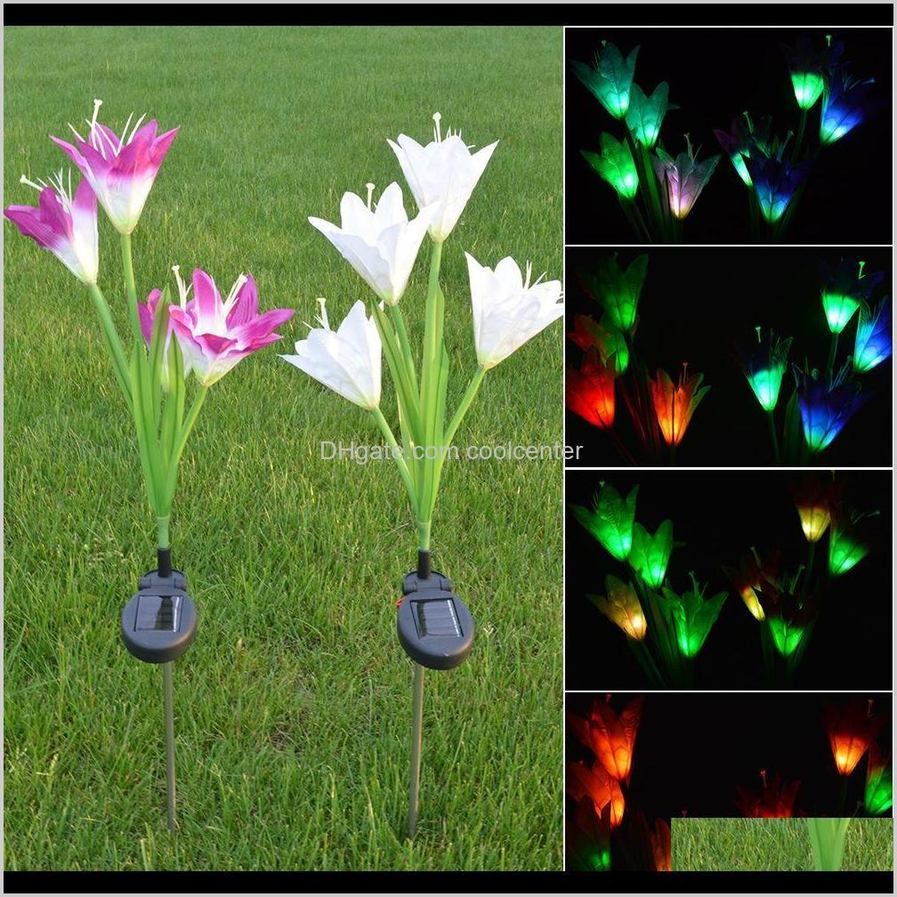 solar power flower led light garden solar lamp yard decorative lawn lamp outdoor lighting 4 head lily decoration led flower party lamp