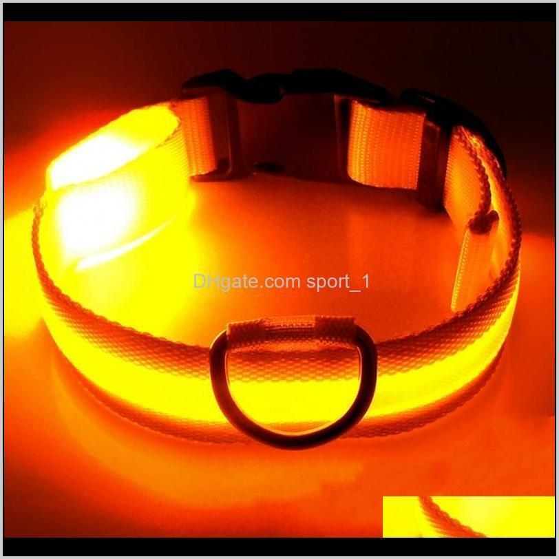 led nylon dog collar dog cat harness flashing light up night safety pet collars multi color xs-xl size christmas accessories