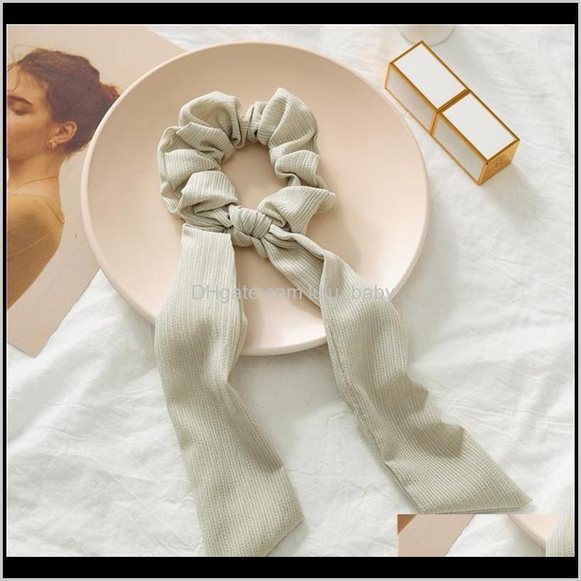 summer new fashion sweet scrunchie women ribbon elastic hair band bow scarf hair rubber girls hair accessories