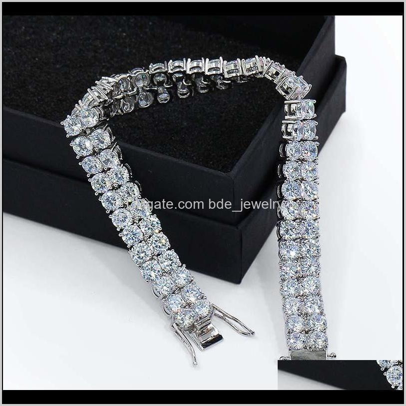 designer bracelet hip hop jewelry mens bracelets pour hommes diamond tennis chain iced out luxury bangles hiphop charm rapper love 2 row