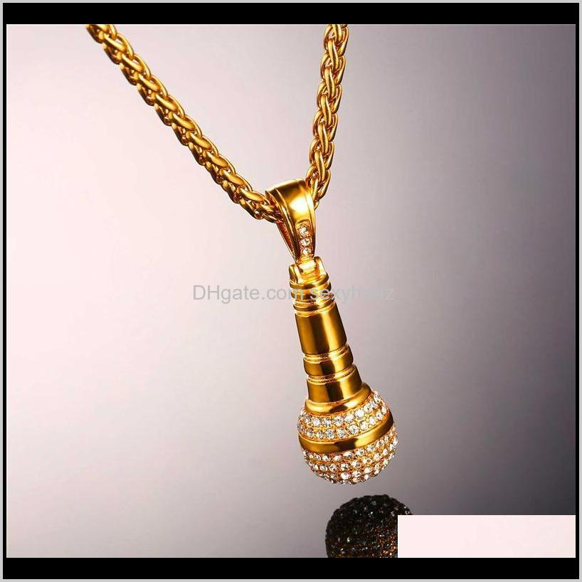 ice out chain necklace microphone pendant men /women stainless steel gold color rhinestone best friend jewelry accessory hip hop p1018