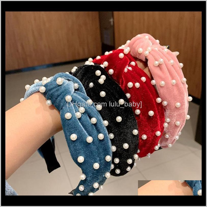 10pcs/lot simple nail pearl cloth art hair band wide side press hair head buckle knotted face wash headband hair accessories