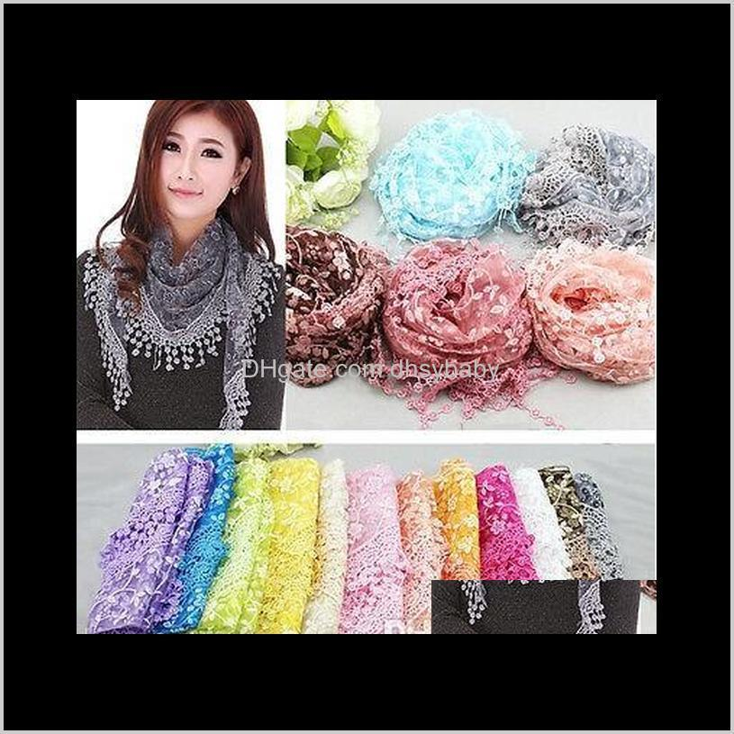 ladies lace tassels sheer metallic scarf summer women burnt-out floral rose print triangle bandage embroidered scarf shawl wraps