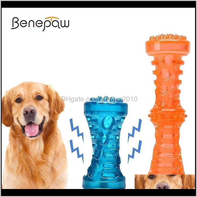 benepaw durable interactive toy dog chew non-toxic tooth cleaning puppy pet toys sound squeaker rubber molar stick dog play game