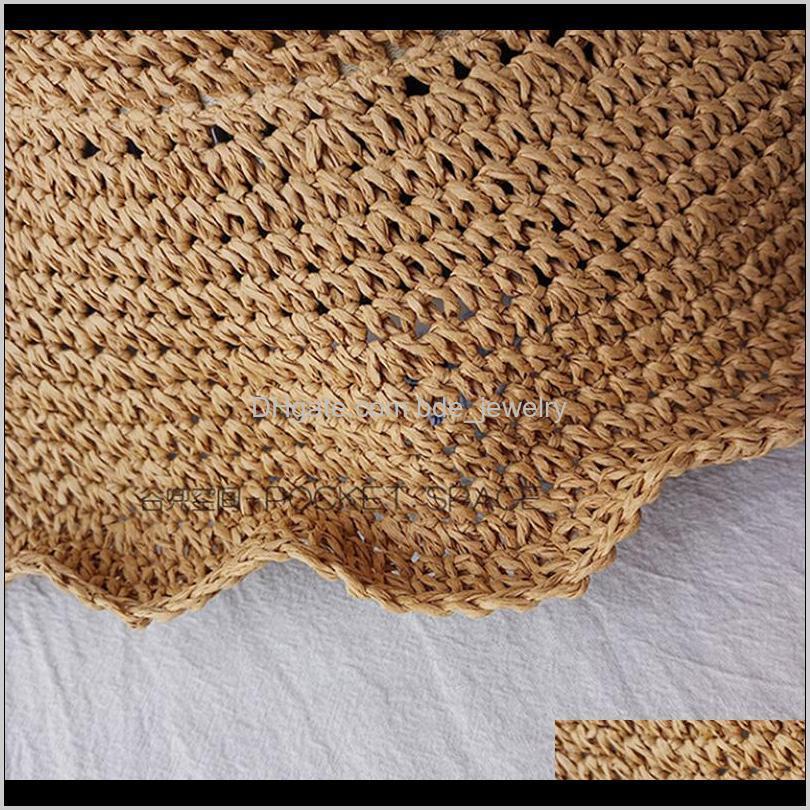 1pc floppy foldable ladies women straw beach sun summer anti uv hat beige wide brim