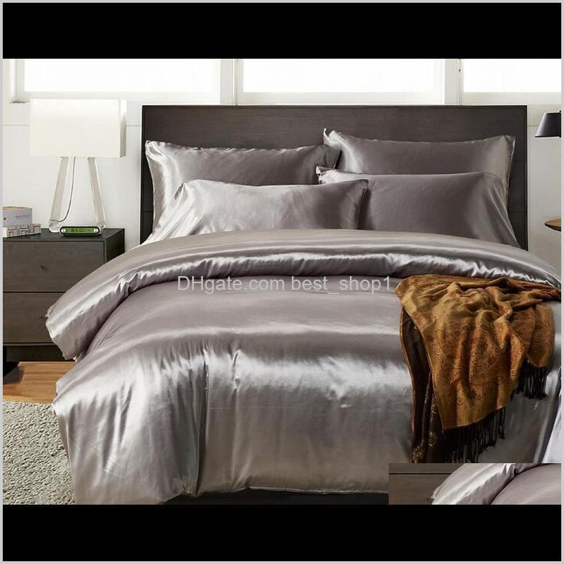 imitation silk bedding set 3 pcs satin duvet cover solid color set simple beautiful bedclothes with pillowcase