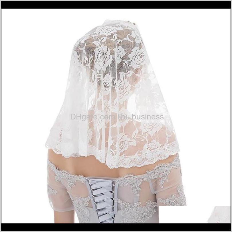 headscarf 2021 new wedding bride lace women girl headscarf muslim headdress handmade shawl lady gauze evening dress accessory