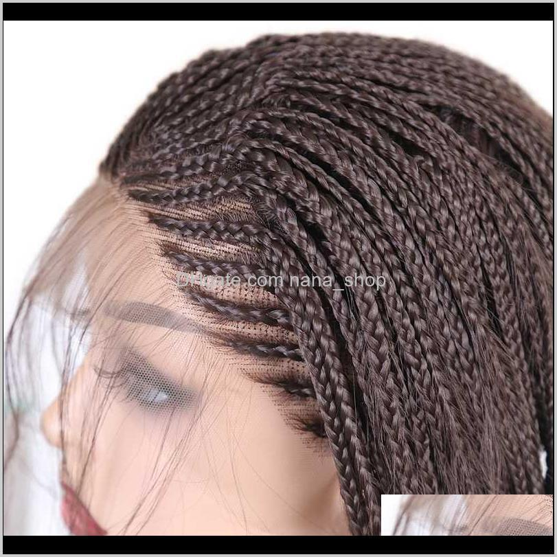 rongduoyi brown heat resistant hair synthetic lace front wig part braided box braids wigs for women fiber cosplay lace wig