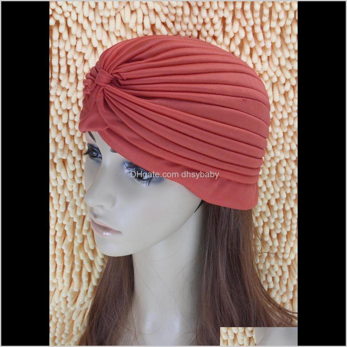 retro women hijab bandana headwear indian headband caps turban hat ear cap solid pleated ladies kerchief shower hat beanies