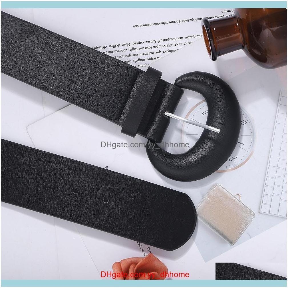 Elegant Black color fashion luxury Female woman designer leather belt exaggerated rubber geometric needle buckle 107cm
