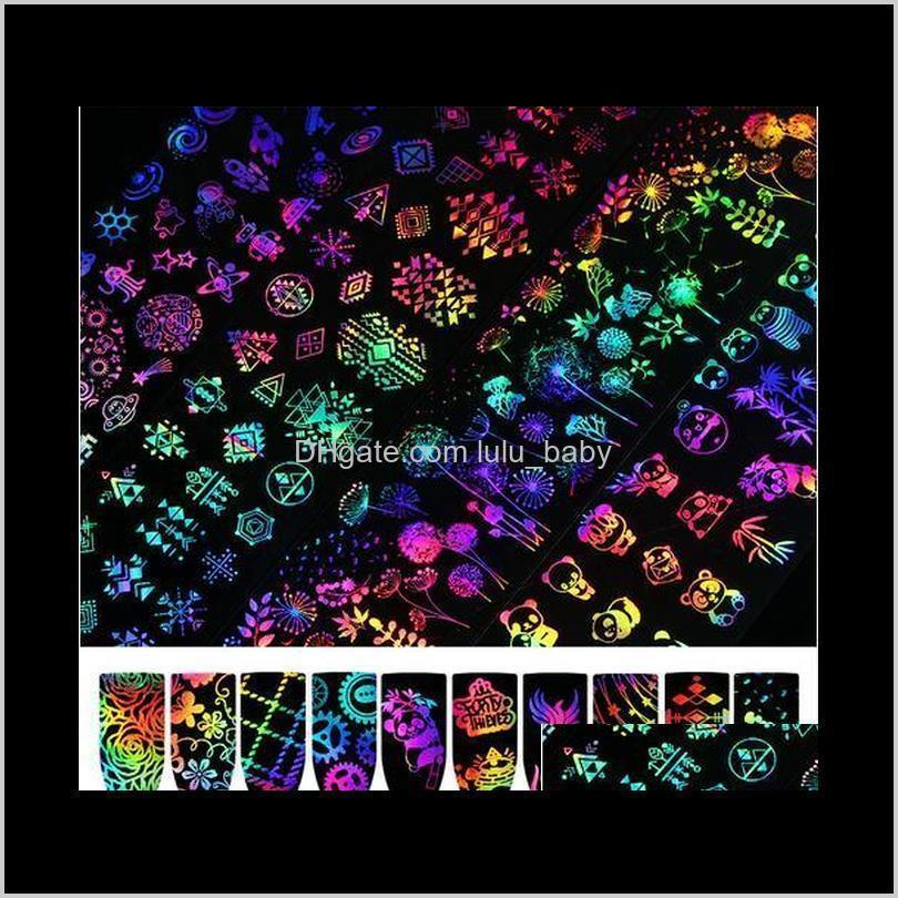 10pcs/set 4*20cm laser starry sky nail foil transfer sticker rose panda butterfly geometric holographic decoration full cover decal