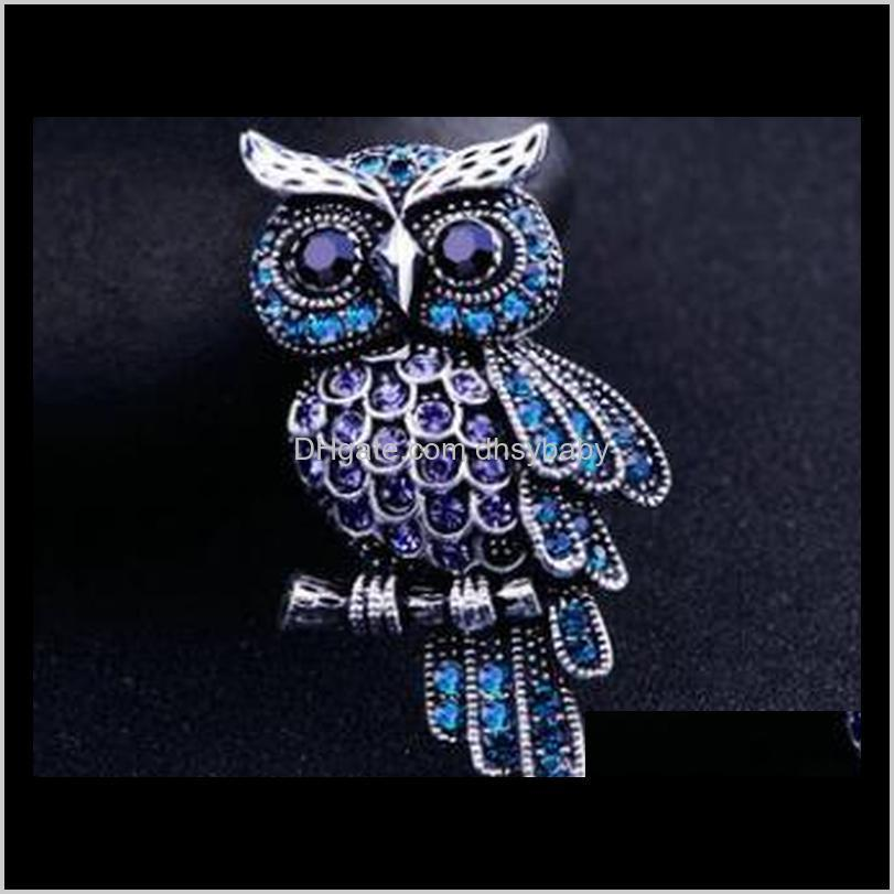 new fashion vision crystal owl pins brooches silver or bronze colors metal 5 colors for choice brooch pin ps2976