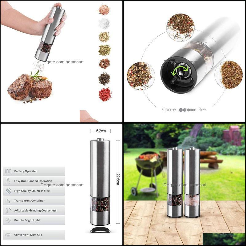 TOP!-Electric salt and pepper grinding unit (2 packs) - Electronically adjustable vibrator - Ceramic grinder Automatic one-h1