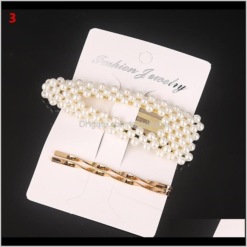 jc007 3pcs/set korean girls metal pearl hair clip combination elegant barrette pearls hairpin hair styling tools accessories