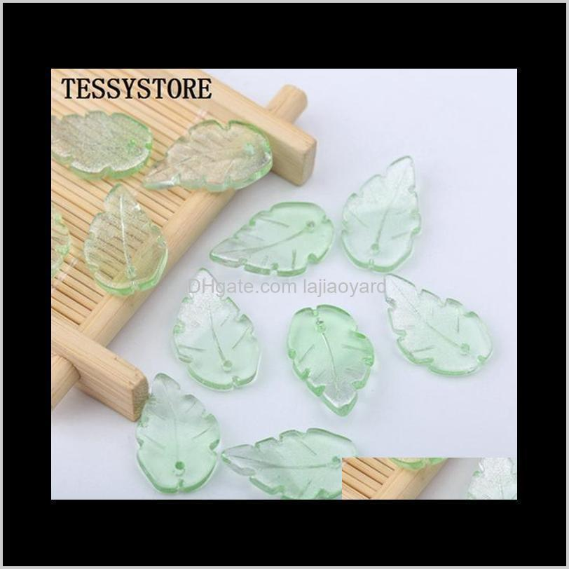 10pcs leaf shape lampwork beads three-nsional shape glass beads for jewelry making hairpin earring handmade diy accessories wmteyr