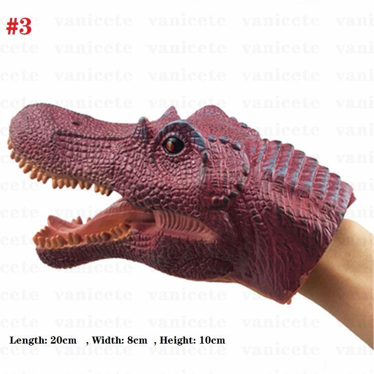 Party Favor Children Dinosaur animal hand puppet soft plastic toys Tyrannosaurus Rex, Stegosaurus, Triceratops, raptors simulation model toyFestive SuppliesZC244