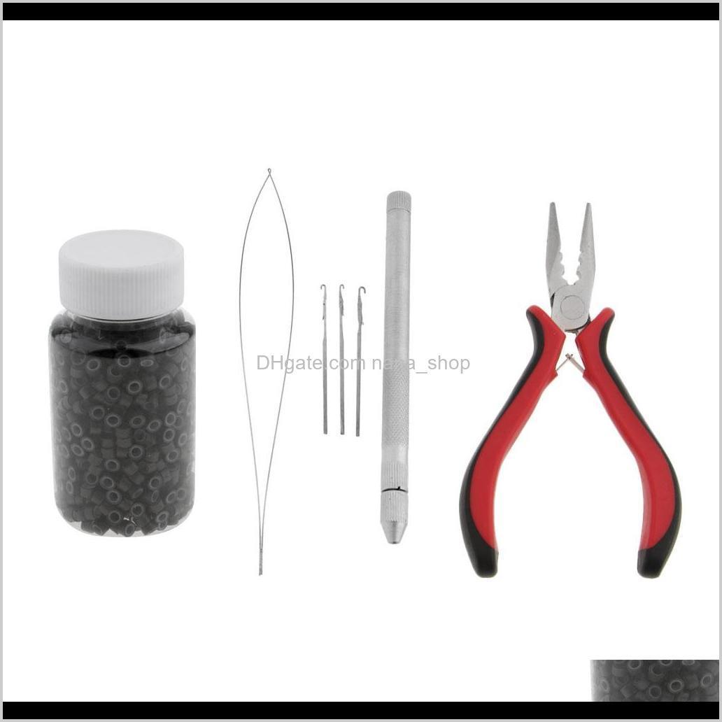 hair extension feather pliers pulling tool hook micro rings beads loops kit